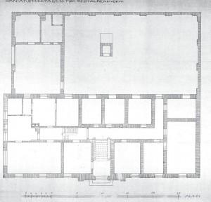 Plan af stueetagen før ombygningen i 1919-20.