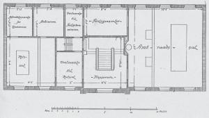 Plan af overetagen før ombygningen i 1919-20.