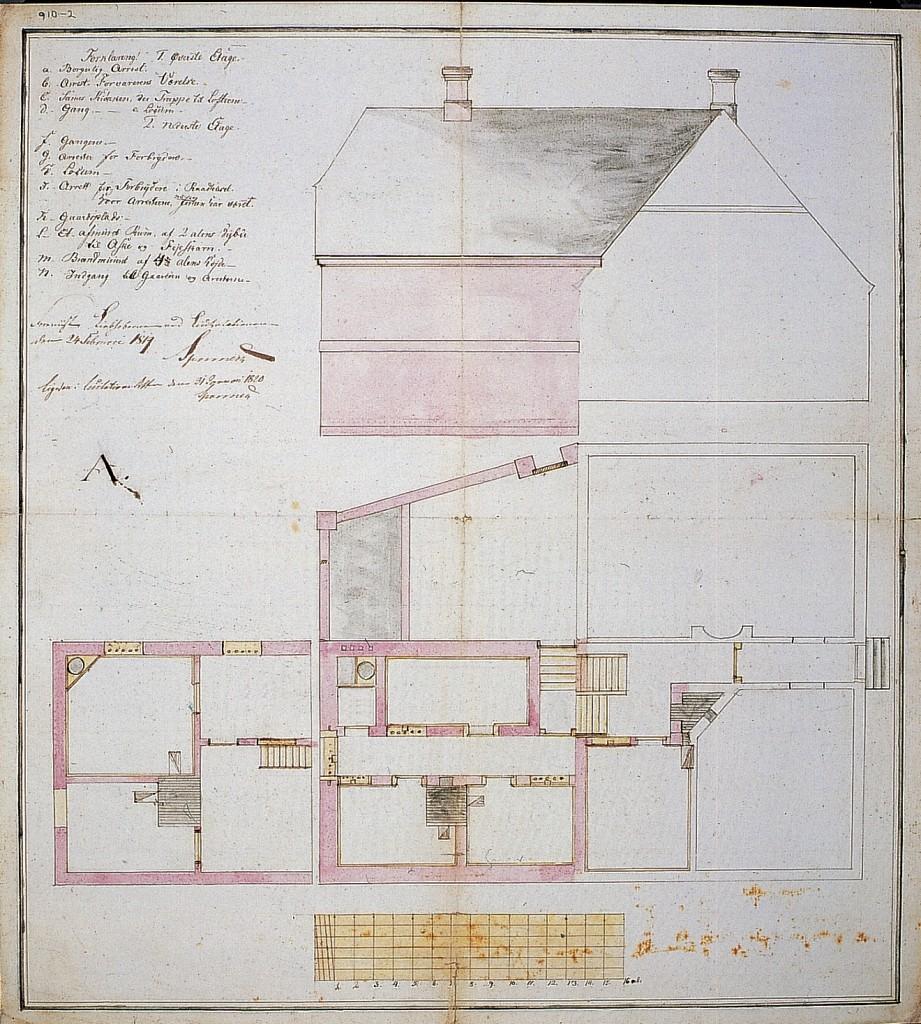 Tegning til den projekterede udvidelse 1819. De farvelagte bygningsdele angiver udvidelsen.